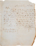 Miscellaneous:Ephemera, Wildes P. Walker Letter to Sam Houston Inquiring About the Value ofAuditor's Certificates. ...