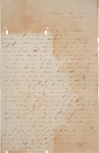 A. B. White Autograph Letter Signed to Sam Houston Asking Assistance for a Veteran of the Texas Revolution