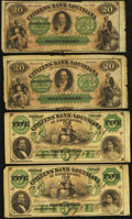 Obsoletes By State:Louisiana, Shreveport, LA- Citizens' Bank of Louisiana $5 Aug. 23, 1860, Two Remainders and $20 18__. ... (Total: 4 notes)