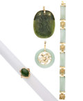 Estate Jewelry:Lots, Jadeite Jade, Nephrite Jade, Cultured Pearl, Gold, Gold-Plated Jewelry. ... (Total: 4 Items)