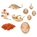 Estate Jewelry:Lots, Diamond, Ruby, Coral, Shell Cameo, Cultured Pearl, Freshwater Cultured Pearl, Gold, Silver Vermeil Jewelry. . ... (Total: 9 Items)