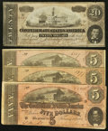 Confederate Notes:Group Lots, T67 $20 1864;. T69 $5 1864 Three Examples.. ... (Total: 4 notes)