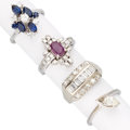 Estate Jewelry:Rings, Diamond, Ruby, Sapphire, White Gold Rings. . ... (Total: 4 Items)