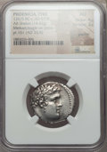 Ancients:Greek, Ancients: PHOENICIA. Tyre. 126/5 BC-AD 67/8. AR shekel (14.42 gm).NGC AU 4/5 - 3/5, graffiti....