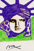 Fine Art - Work on Paper:Drawing, Peter Max (American, b. 1937). Liberty (purple and green).Marker on paper. 21-1/2 x 13-1/2 inches (54.6 x 34.3 cm) (sig...