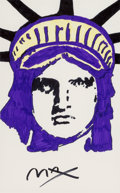 Fine Art - Work on Paper:Drawing, Peter Max (American, b. 1937). Liberty. Marker on paper.21-1/2 x 13-1/2 inches (54.6 x 34.3 cm) (sight). Signed lower l...