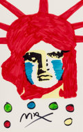 Works on Paper, Peter Max (American, b. 1937). Liberty . Marker on paper. 21-1/2 x 13-1/2 inches (54.6 x 34.3 cm) (sight). Signed lower ...