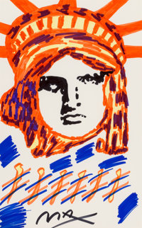 Peter Max (American, b. 1937) Liberty Marker on paper 21-1/2 x 13-1/2 inches (54.6 x 34.3 cm) (s