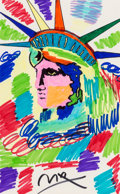 Fine Art - Work on Paper:Drawing, Peter Max (American, b. 1937). Liberty Profile. Marker onpaper. 21-1/2 x 13-1/2 inches (54.6 x 34.3 cm) (sight). Signed...