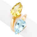 Estate Jewelry:Rings, Blue Topaz, Citrine, Gold Ring. . ...