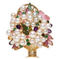 Estate Jewelry:Brooches - Pins, Multi-Stone, Diamond, Cultured Pearl, Gold Enhancer-Brooch. . ...