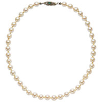 Freshwater Cultured Pearl, Emerald, Diamond, White Gold Necklace