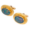 Estate Jewelry:Cufflinks, Opal Doublet, Gold Cuff Links. . ... (Total: 2 Items)