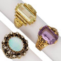 Estate Jewelry:Rings, Multi-Stone, Diamond, Gold Rings. . ... (Total: 3 Items)