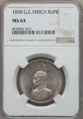 German East Africa, German East Africa: German Colony. Wilhelm II Rupie 1890 MS63 NGC,...