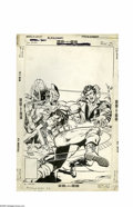 Original Comic Art:Covers, Rich Buckler and Vince Coletta - Blackhawk #250 Cover Original Art(DC, 1977). Hawk-aa-ouch! Killer Shark puts the hurt on B...