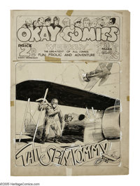 Will Eisner - Okay Comics Tommy Tailspin Cover Original Art (1937). Hal Forrest's aviator hero Tommy Tailspin barnstorms...