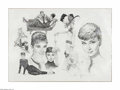 Original Comic Art:Sketches, Jose Gonzalez - Audrey Hepburn Portrait Montage Original Art (2005). Masterfully rendered with a sensitive line and rich tex...
