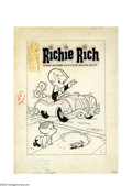 Original Comic Art:Covers, Warren Kremer - Richie Rich #5 Cover Original Art (Harvey, 1961).The first cover appearance of Pee Wee makes this an especi...