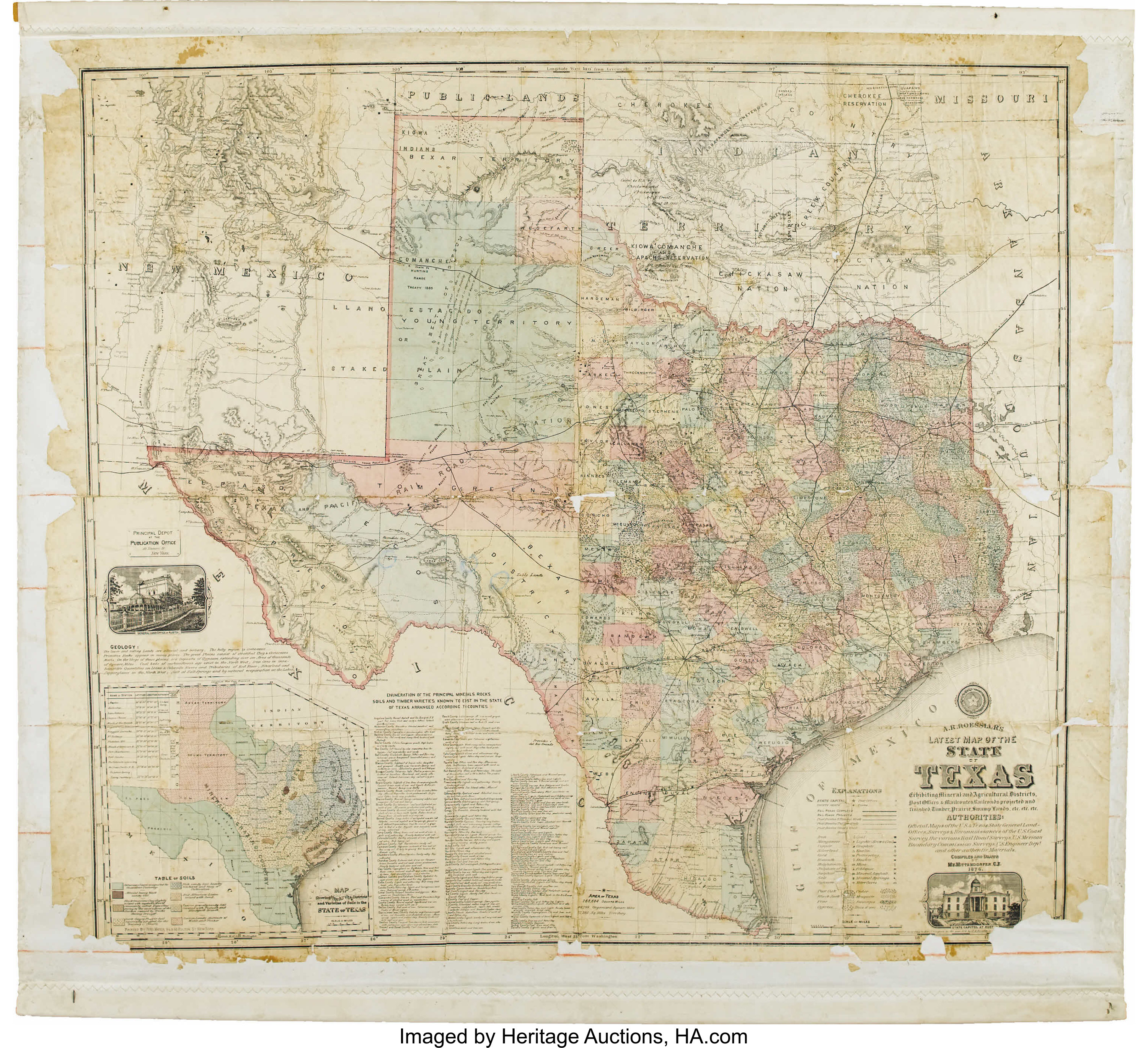 A Map Of The State Of Texas.A R Roessler S Latest Map Of The State Of Texas 1874 Lot
