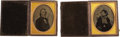 Photography:Ambrotypes, Two Half Plate Ambrotypes in Unusual Cases by Walter C. North,circa 1858,... (Total: 2 Items)