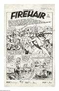Original Comic Art:Splash Pages, Robert Webb - Rangers Comics #64 Splash Page 1 Original Art(Fiction House, 1952). The buxom wildcat, Firehair, takes center...