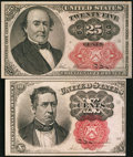 Fractional Currency:Fifth Issue, Fifth Issue Short, Thick Key Fractionals.. ... (Total: 2 notes)