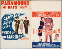 """Pride of the Marines & Others Lot (Warner Brothers, 1945). Window Cards (2) (14"""" X 22""""). War. ... (Tot..."""
