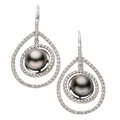 Estate Jewelry:Earrings, Black South Sea Cultured Pearl, Diamond, White Gold Earrings. . ...(Total: 2 Items)