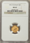 Commemorative Gold, 1903 G$1 Louisiana Purchase, McKinley Gold Dollar MS65 NGC. NGCCensus: (398/480). PCGS Population: (599/611). CDN: $1,075 ...