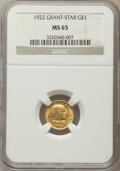 Commemorative Gold, 1922 G$1 Grant Gold Dollar, With Star, MS65 NGC....