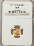 Commemorative Gold, 1917 G$1 McKinley Gold Dollar MS65 NGC. NGC Census: (290/228). PCGSPopulation: (610/503). CDN: $1,300 Whsle. Bid for probl...