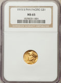 Commemorative Gold, 1915-S G$1 Panama-Pacific Gold Dollar MS65 NGC. NGC Census:(765/599). PCGS Population: (1275/867). CDN: $1,075 Whsle. Bid ...