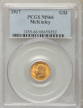 Commemorative Gold, 1917 G$1 McKinley Gold Dollar MS66 PCGS. PCGS Population: (431/70).NGC Census: (178/50). CDN: $1,650 Whsle. Bid for proble...
