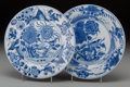 Asian:Chinese, Two Chinese Blue and White Porcelain Plates, Qing Dynasty, KangxiPeriod, circa 1654-1722. Marks: (Ding incense burner in do...(Total: 2 Items)