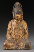 Asian:Chinese, A Chinese Gilt Lacquered Bronze Guanyin, Ming Dynasty. 10-5/8inches high (27.0 cm). ...