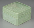 Asian:Chinese, A Chinese Carved Apple-Green-Glazed Porcelain Box And Cover, QingDynasty, circa 1820-1870 . Marks: Li Yucheng z...