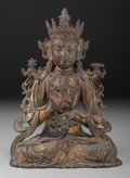 Asian:Chinese, A Chinese Gilt Lacquered Bronze Figure of Avalokitesvara, MingDynasty. 10-1/8 inches high (25.7 cm). The figure depicting...