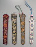 Asian:Chinese, Four Embroidered Silk Fan Cases, late Qing dynasty. 18 inches long(45.7 cm) (longest, including handle). ... (Total: 4 Items)