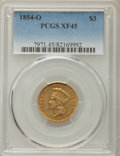 Three Dollar Gold Pieces, 1854-O $3 XF45 PCGS. Variety 2....
