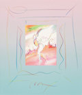Fine Art - Painting, American:Contemporary   (1950 to present)  , Peter Max (American, b. 1937). Angel on Sun, 2000. Offsetcolor lithograph mounted on original colored pencil drawing by...