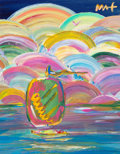 Fine Art - Painting, American:Contemporary   (1950 to present)  , Peter Max (American, b. 1937). Sailboat at Sea, 1998. Acrylic on canvas. 13-1/2 x 10-1/2 inches (34.3 x 26.7 cm). Signed...