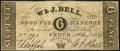 Canadian Currency: , Perth, UC- W. & J. Bell 6 Pence Aug. 1, 1839. ...