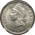 Dominican Republic, Dominican Republic: Republic 25 Centavos 1947-(p) MS64 NGC,...
