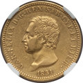 Italy, Italy: Sardinia. Carlo Felice gold 40 Lire 1831-P AU Details(Excessive Surface Hairlines) NGC,...