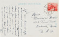 Baseball Collectibles:Others, 1930's Lou Gehrig Handwritten & Signed Postcard from TheBeatrice Wade Collection. ...