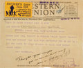 Baseball Collectibles:Others, 1930 Lou Gehrig Inscribed Telegram & Signed Envelope from The Beatrice Wade Collection. ...