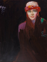 Peter Max (American, b. 1937) Portrait of a Woman in a Headpiece, 1974 Oil on canvas 40 x 30 inch