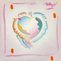 Fine Art - Painting, American:Contemporary   (1950 to present)  , Peter Max (American, b. 1937). Heart Around the World, 1992.Acrylic on canvas. 12 x 12 x 1-1/4 inches (30.5 x 30.5 x 3....