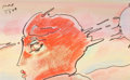 Fine Art - Work on Paper:Drawing, Peter Max (American, b. 1937). Profile, 1989. Watercolor,pastel, and ink on paper. 5 x 8-1/2 inches (12.7 x 21.6 cm) (s...
